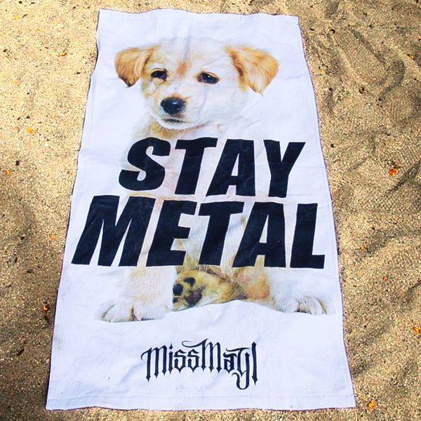 Stay Metal Puppy Beach Towel