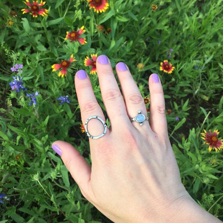Natural Rainbow Moonstone and Recycled Sterling Silver Dot Ring