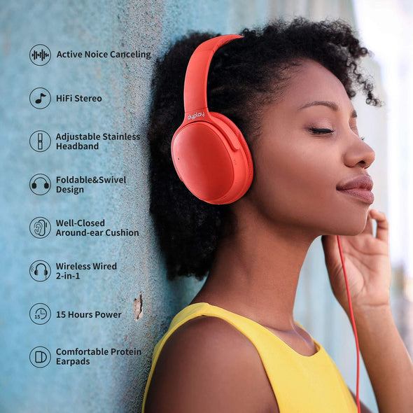 Dyplay High Quality Bluetooth Noise Canceling Headphones Red