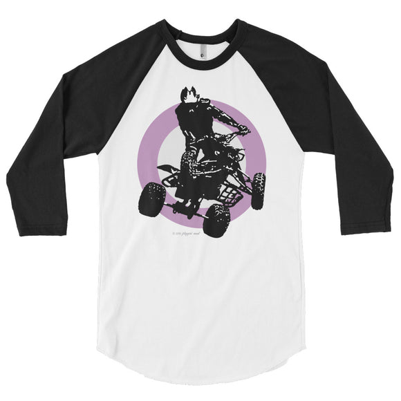 Quad Silhouette Purple/Black Print - 3/4 sleeve raglan shirt