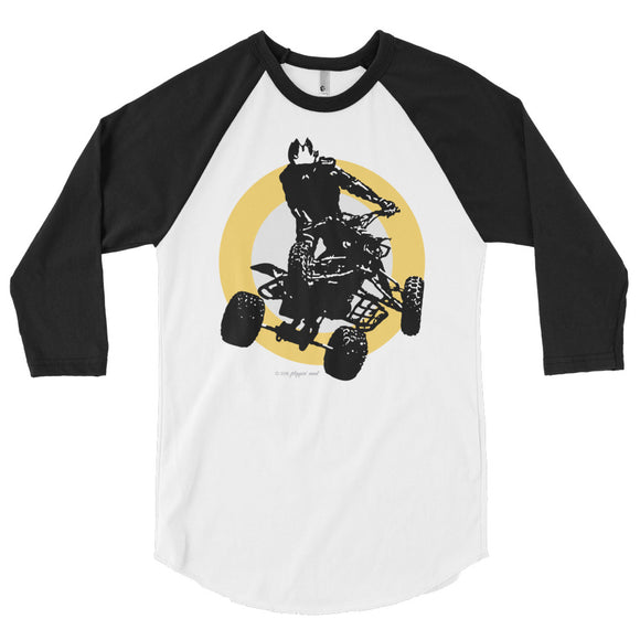 Quad Silhouette Yellow/Black Print - 3/4 sleeve raglan shirt