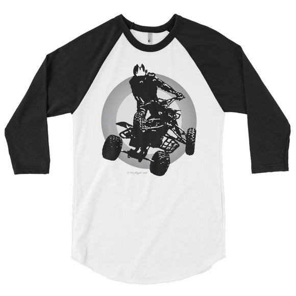 Quad Silhouette Gray/Black Print - 3/4 sleeve raglan shirt