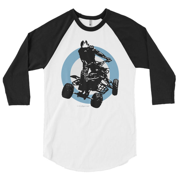 Quad Silhouette Blue/Black Print - 3/4 sleeve raglan shirt
