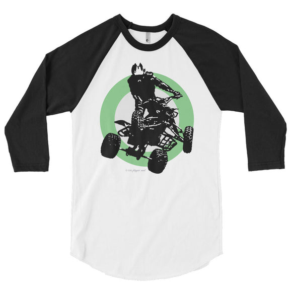 Quad Silhouette Green/Black Print - 3/4 sleeve raglan shirt