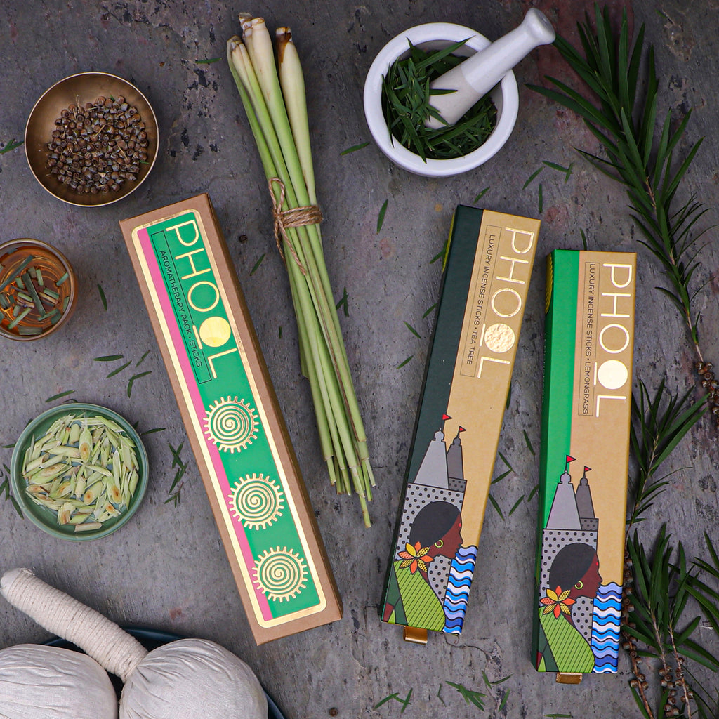 Phool Aromatherapy Pack - Natural Incense Sticks Tea Tree & Lemongrass