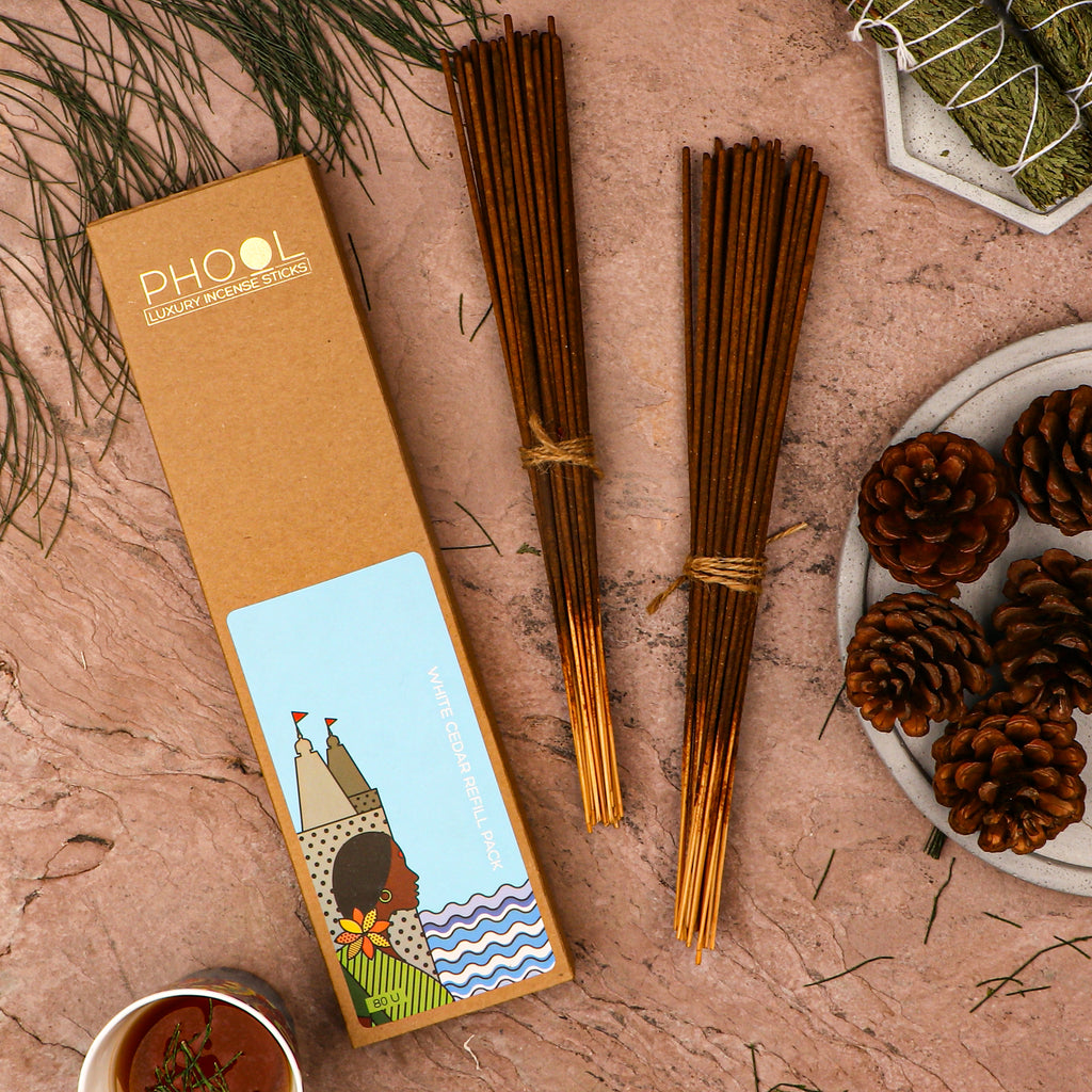 Phool Natural Incense Sticks Refill pack - White Cedar