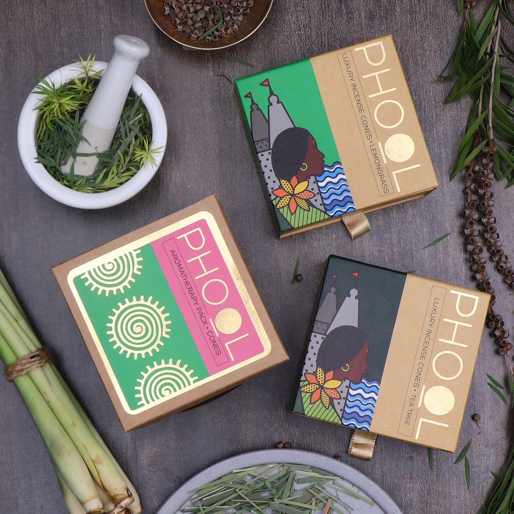 Phool Aromatherapy Pack - Natural Incense Cones Tea Tree & Lemongrass
