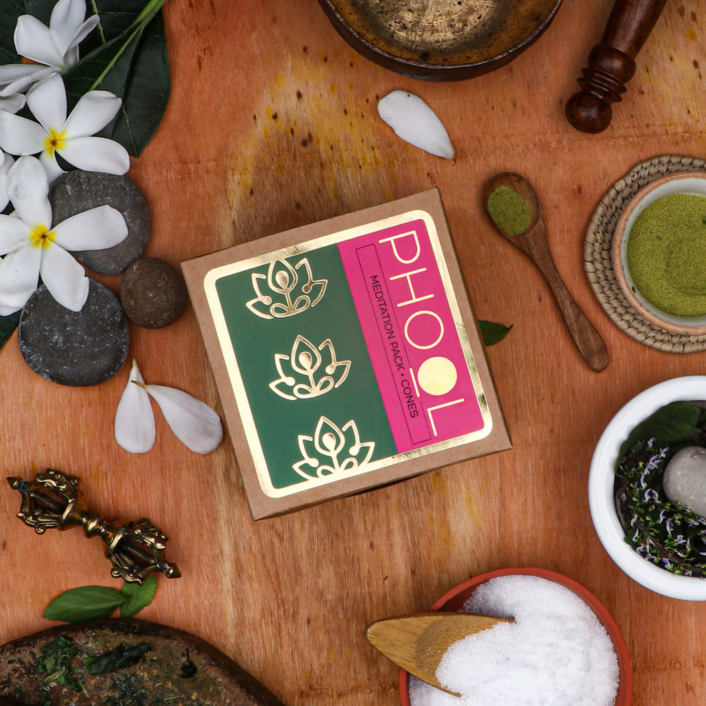 Phool Meditation Pack - Natural Incense Cones Nagchampa & Patchouli