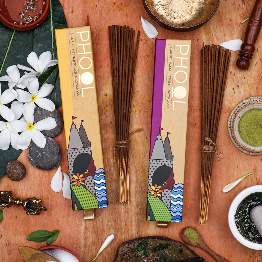 Phool Meditation Pack - Natural Incense Sticks Nagchampa & Patchouli