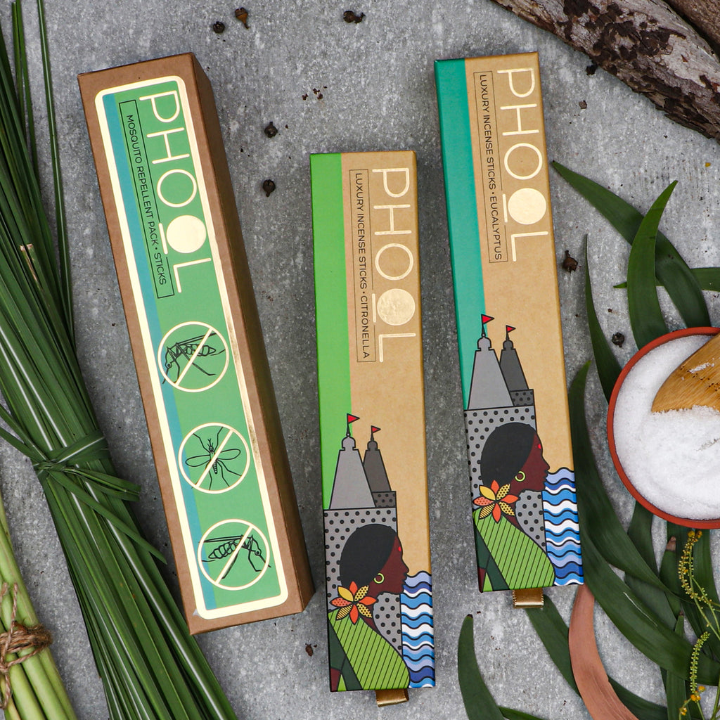 Phool Mosquito Repellent Pack - Natural Incense Sticks Citronella & Eucalyptus
