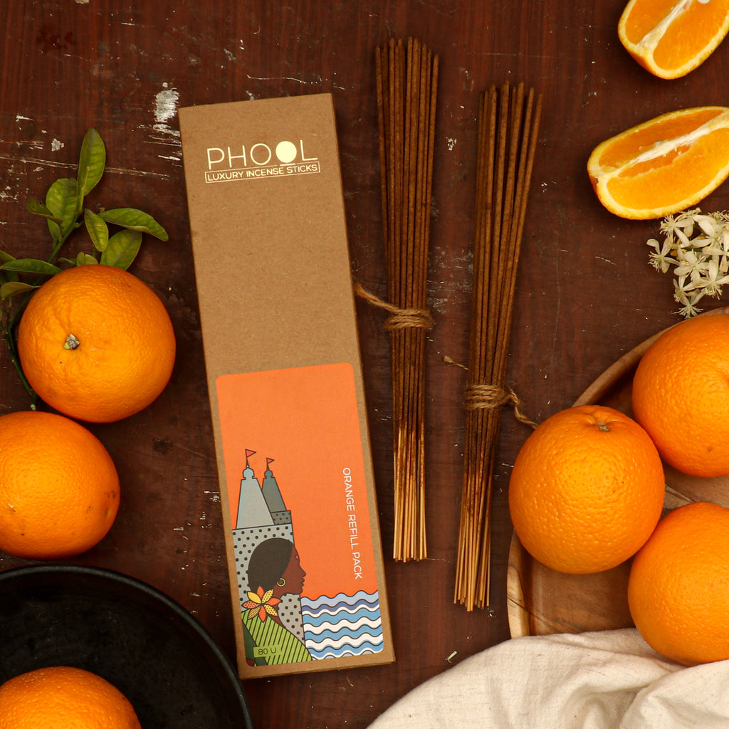 Phool Natural Incense Sticks Refill pack - Orange