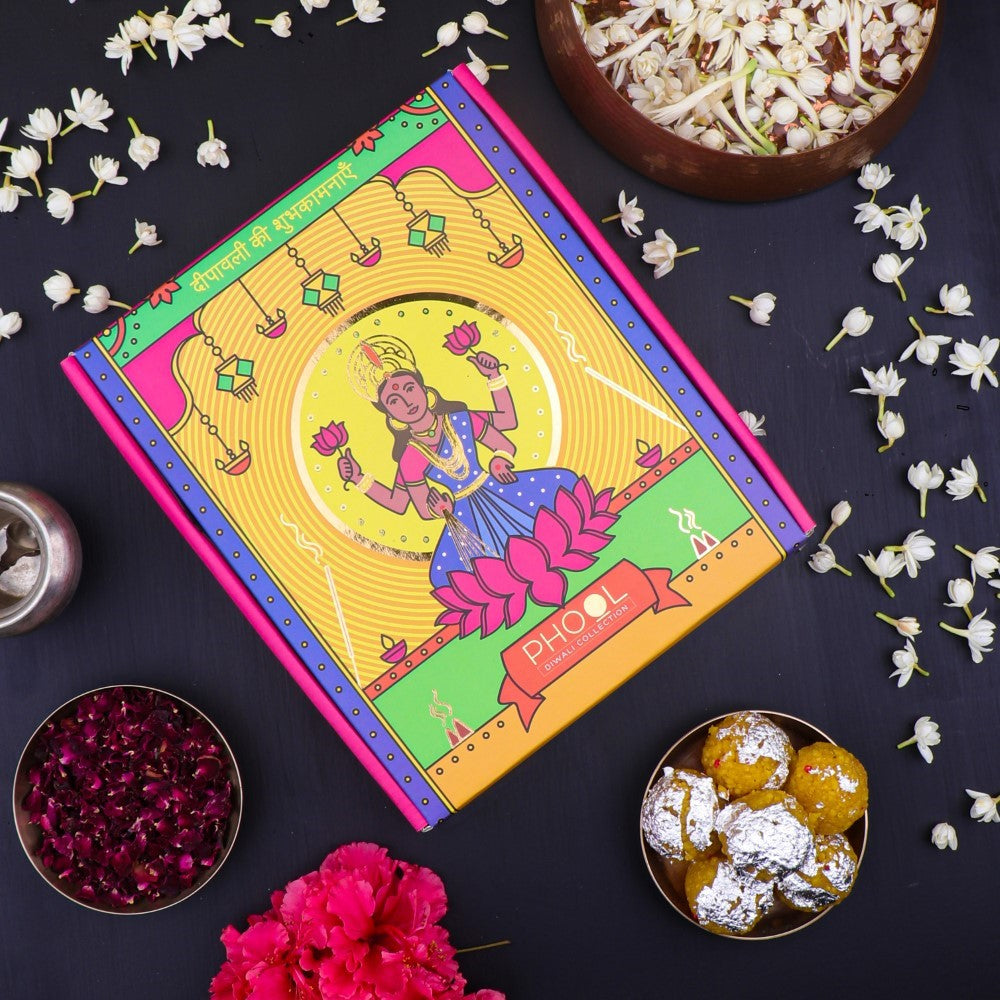 Phool Diwali Lakshmi Giftbox- Natural Incense Collection (4 Fragrances+ 2 Diyas)
