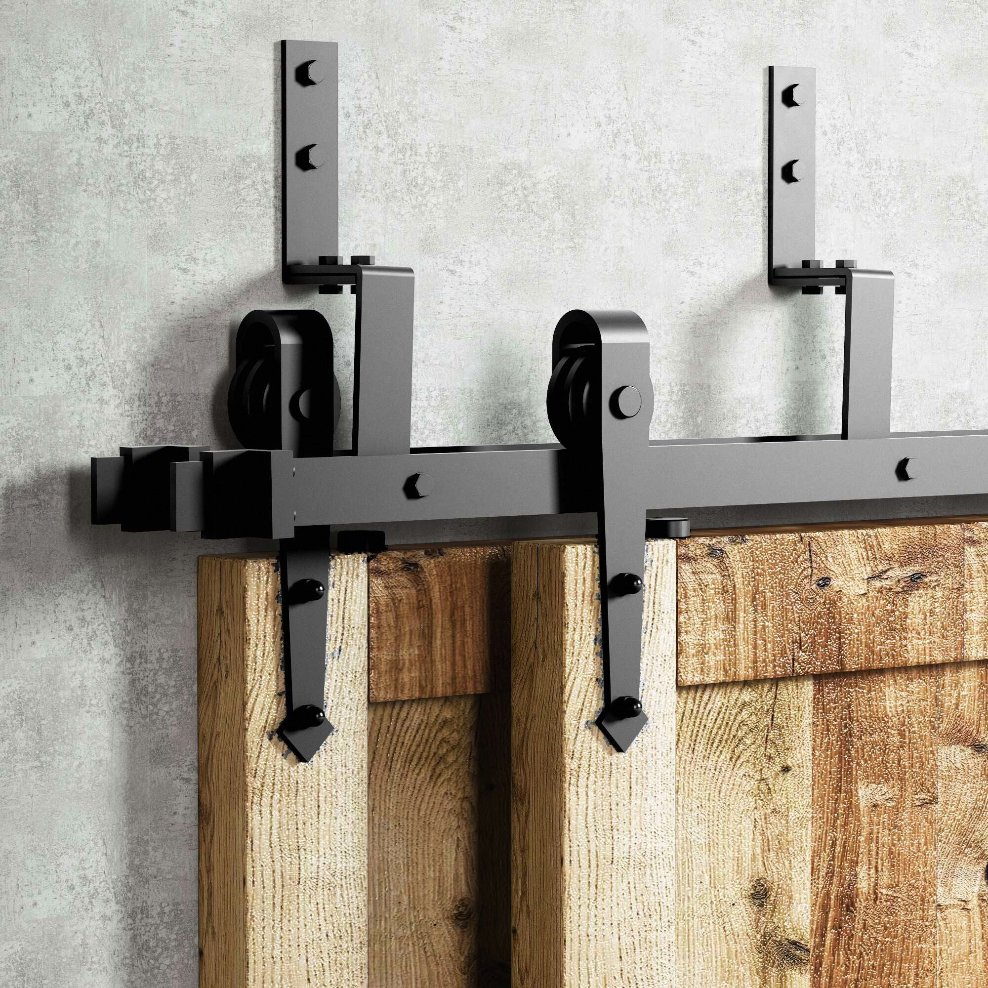 Double Track Z Shape Bypass Sliding Barn Door Hardware Kit Arrow Des Homacer