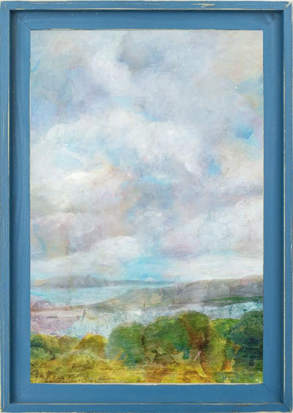 Spring Meadow  - Landscape by Theodosiou, Matina in a Farmhouse Distressed Lagoon frame