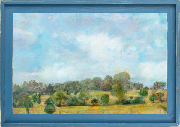Spring Vista  - Landscape by Theodosiou, Matina in a Farmhouse Distressed Lagoon frame