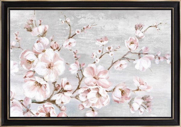 Spring Cherry Blossoms I  - Abstract by Watts, Eva in a Distressed Classic Black frame