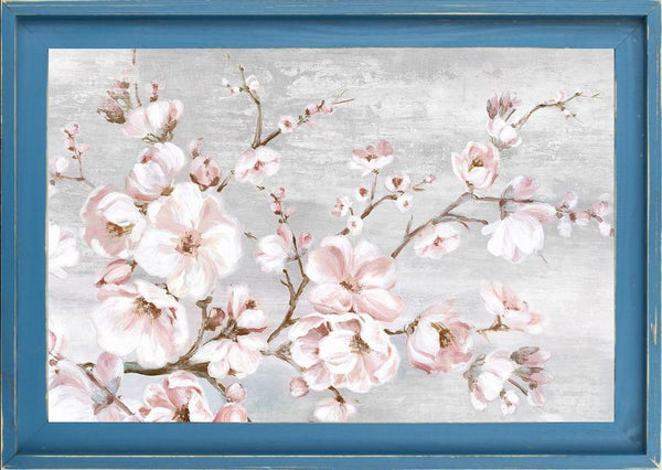 Spring Cherry Blossoms I  - Abstract by Watts, Eva in a Farmhouse Distressed Lagoon frame
