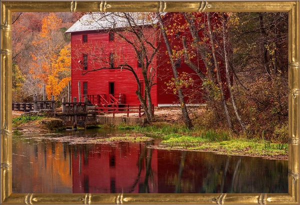 Alley Springs Mill - Country French Landscape Photography by Hammond, David in a Gold Bamboo frame