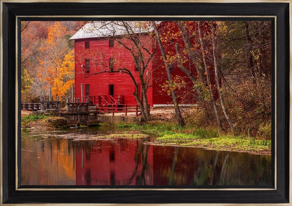 Alley Springs Mill - Country French Landscape Photography by Hammond, David in a Distressed Classic Black frame