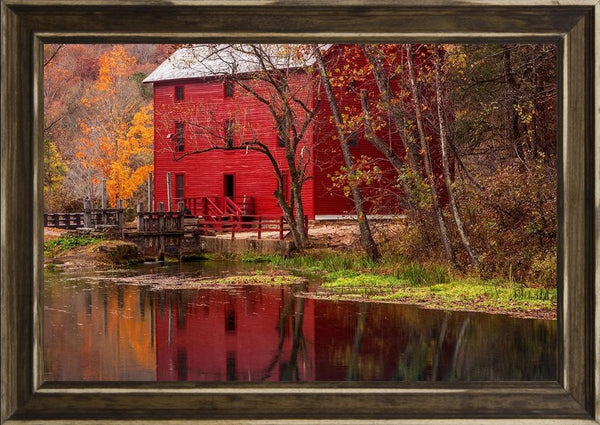 Alley Springs Mill - Country French Landscape Photography by Hammond, David in a Distressed Classic Saddle frame