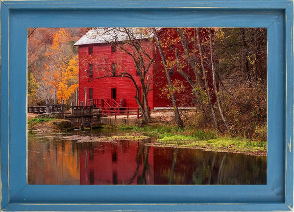 Alley Springs Mill - Country French Landscape Photography by Hammond, David in a Farmhouse Distressed Lagoon frame