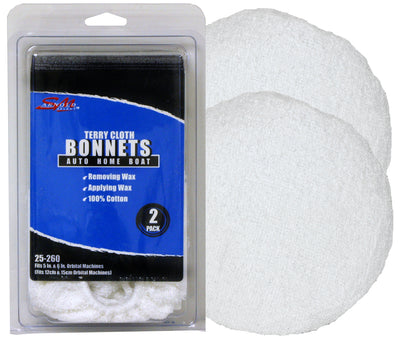 SM Arnold White Cotton Terry Bonnet for 5'' 6'' Orbital, 2 Pack