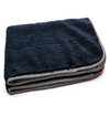 "Black with Silver Silk Edge Microfiber Detailing Towel 360 gsm, 16"" x 16"""