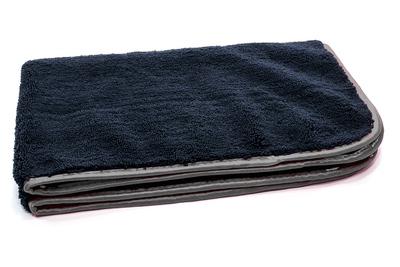 "Black with Silver Silk Edge Microfiber Detailing Towel 360 gsm, 16"" x 24"""