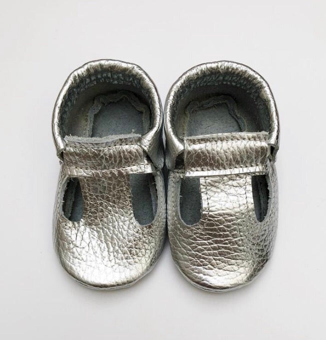 Leather Plain Moccasins - Silver