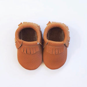 Leather Fringe Moccasins - Tan