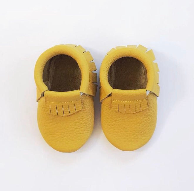 Leather Fringe Moccasins - Mustard
