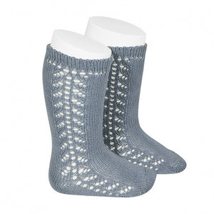 Side Openwork Knee High Socks