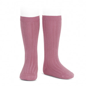 Ribbed knee high socks