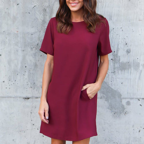 Casual Short Sleeveless Pocket Plain Dress