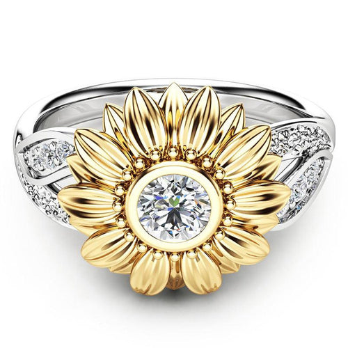 Silver Crystal Sunflower Wedding Rings For Women
