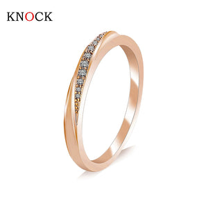 KNOCK Top Quality Simple Cubic Zirconia Lovers Rose Gold Rings
