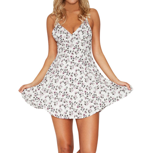 Printed Summer Off Shoulder Sleeveless Dress
