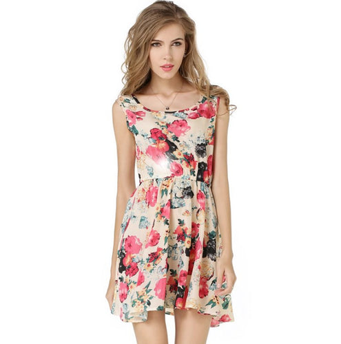 Printed Sleeveless Chiffon Dress
