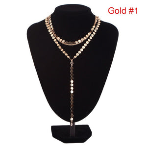 Sexy Multilayer Sequins Crystal Rhinestone Tassel Pendants Necklace