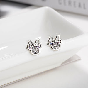 HOMOD Presents Silver Color Mickey Stud Earrings