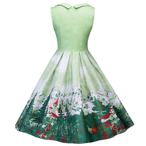 Printed Christmas Tree Dress For Woman