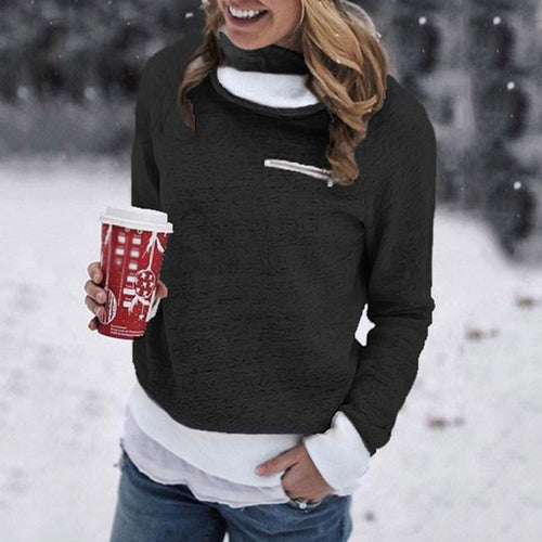 Women Winter Zipper Long Sleeve Sweatshirt