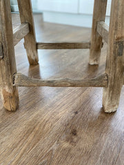 Rustic stool imperfections