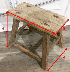 Size guide antique large rustic stool