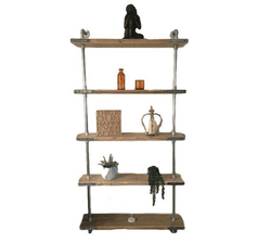 5 Shelf Galvanised Pipe Shelving Unit - Floor Mounted
