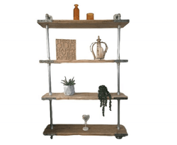 4 Shelf Galvanised Pipe Shelving Unit - Floor Mounted