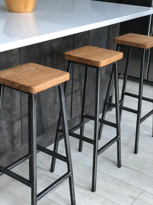 Bertie Fouroak - Raw Steel Frame Industrial Bar Stool with Square Oak Seat