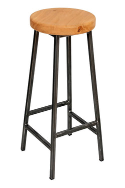 Bertie Broadoak - Raw Steel Frame Industrial Bar Stool with Chunky Oak Seat (4432515989559)