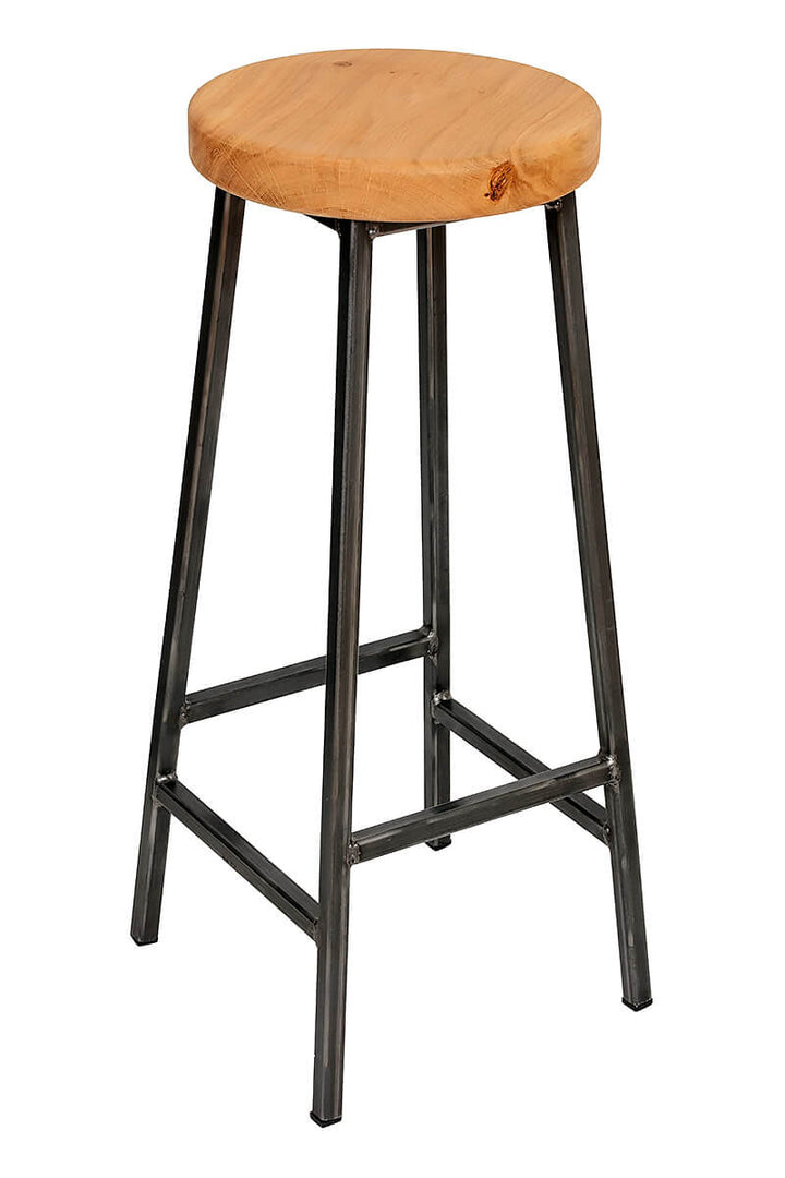 Bertie Broadoak - Raw Steel Frame Industrial Bar Stool with Chunky Oak Seat