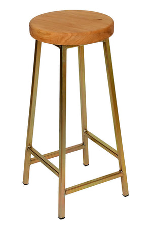 Bertie Broadoak - Zinc Plated Industrial Bar Stool with Chunky Oak Seat